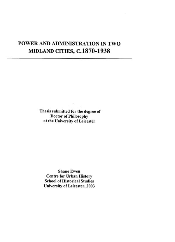 PDF) Power and Administration In Two Midlands Cities, C  1870-1938