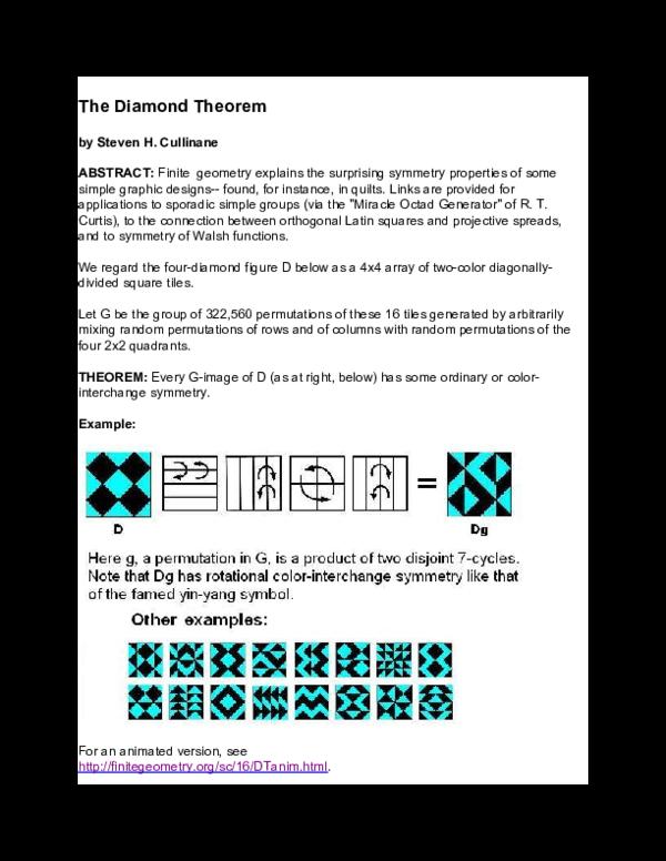 PDF) The Diamond Theorem | Steven H  Cullinane - Academia edu