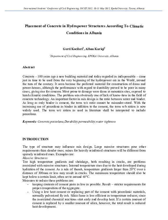 PDF) Placement of Concrete in Hydropower Structures in Albania