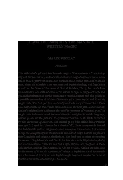 Pdf Jewish Elements In The Mandaic Written Magic Marek Vinklat Academia Edu