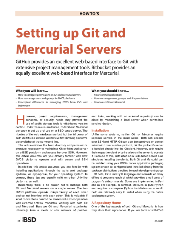 PDF) Setting Up Git and Mercurial Servers | James P Howard