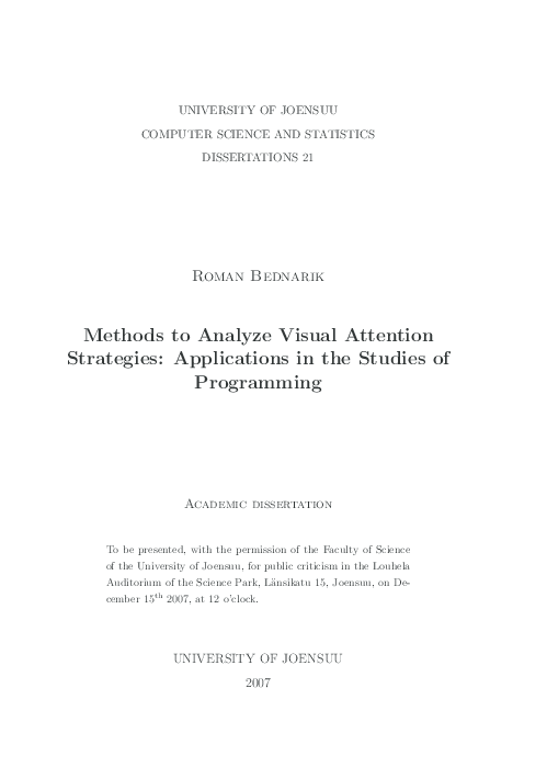 PDF) Methods to analyze visual attention strategies: Applications in