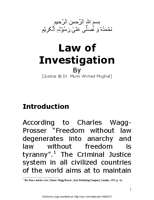 PDF) Law of Investigation | Munir Mughal - Academia edu