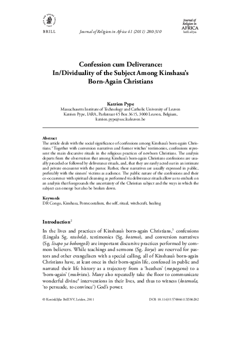 PDF) Confession-cum-Deliverance  In/Dividuality of the Subject among