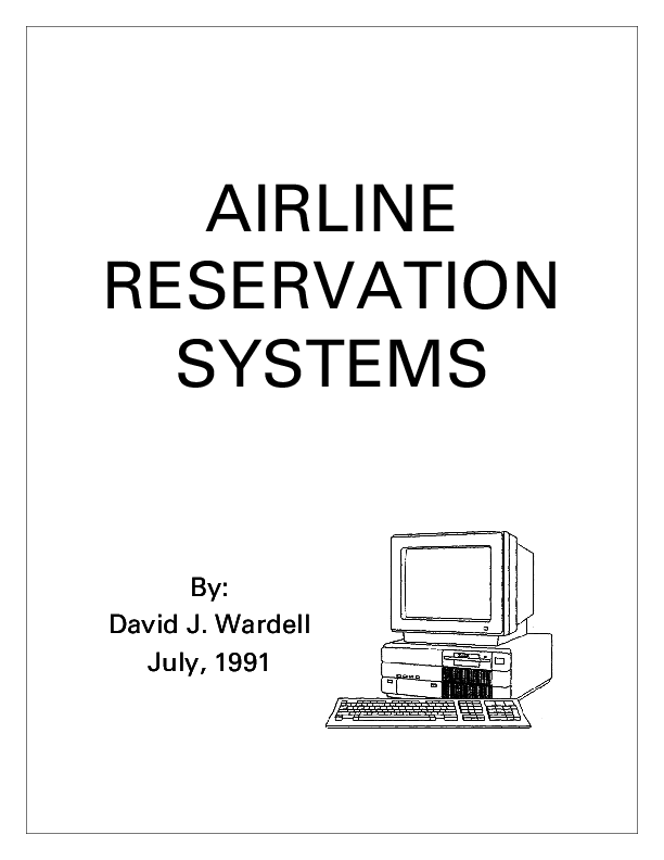 PDF) Airline Reservation Systems | David Wardell - Academia edu