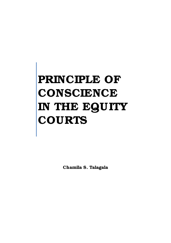 PDF) Principle of Conscience in the Equity Courts | Chamila