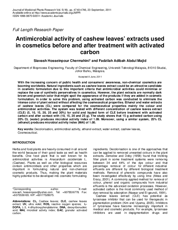 Antimicrobial Activity Of Cashew Leaves Extracts Used In Cosmetics Before And After Treatment With Activated Carbon