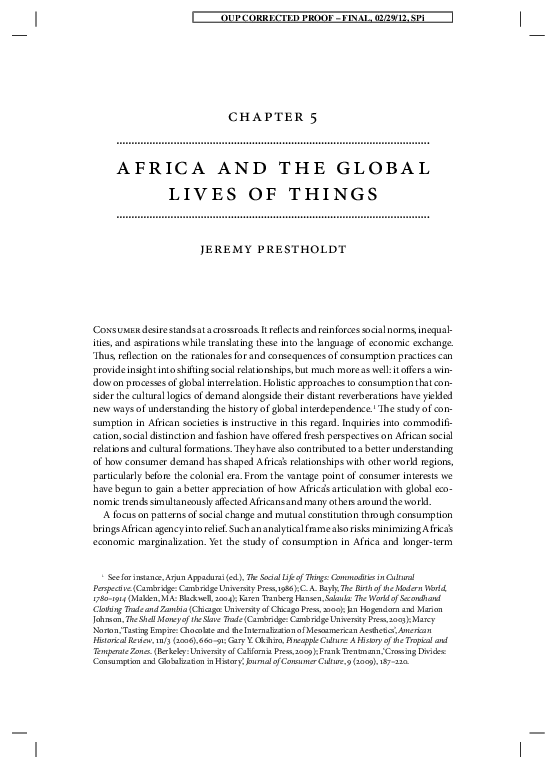 PDF) Africa and the Global Lives of Things | Jeremy