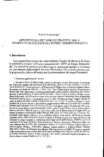 PDF) Appunti sulla sintassi contrastiva nelle grammatiche