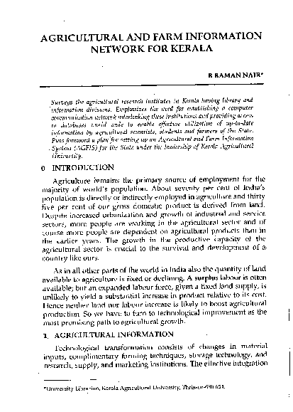 PDF) Agricultural and farm information system for Kerala