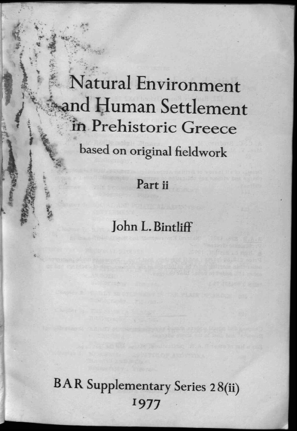 PDF) Bintliff (1977) Natural environment and human settlement in