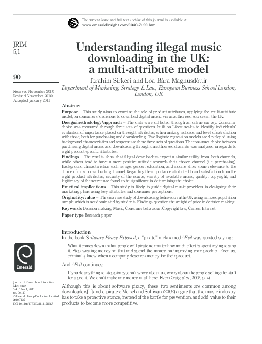 PDF) Understanding illegal music downloading in the UK: A