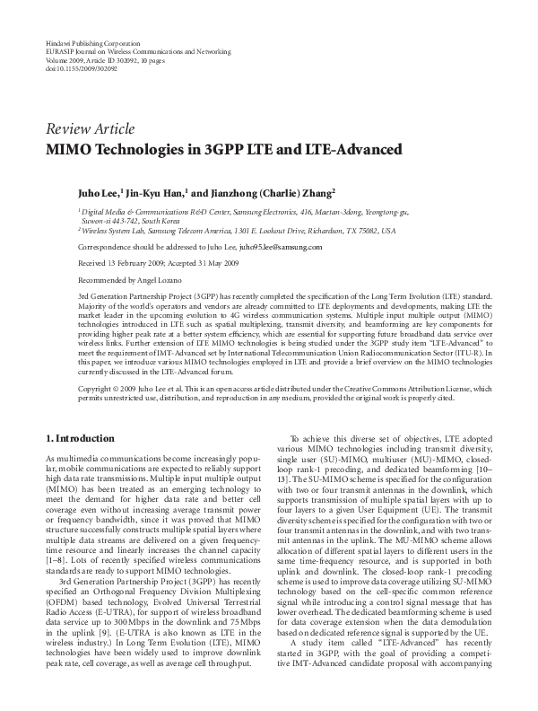 PDF) MIMO technologies in 3GPP LTE and LTE-advanced   A