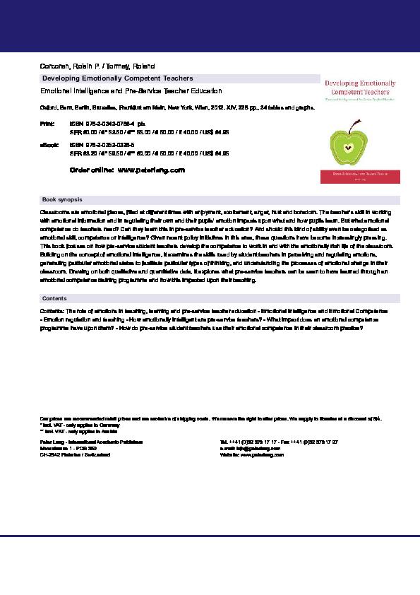 PDF) Developing emotionally competent teachers: Emotional