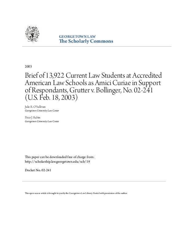 PDF) Brief of 13,922 Current Law Students at Accredited