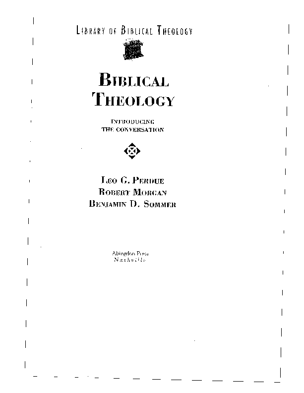 PDF) Dialogical Biblical Theology: A Jewish Approach to Reading