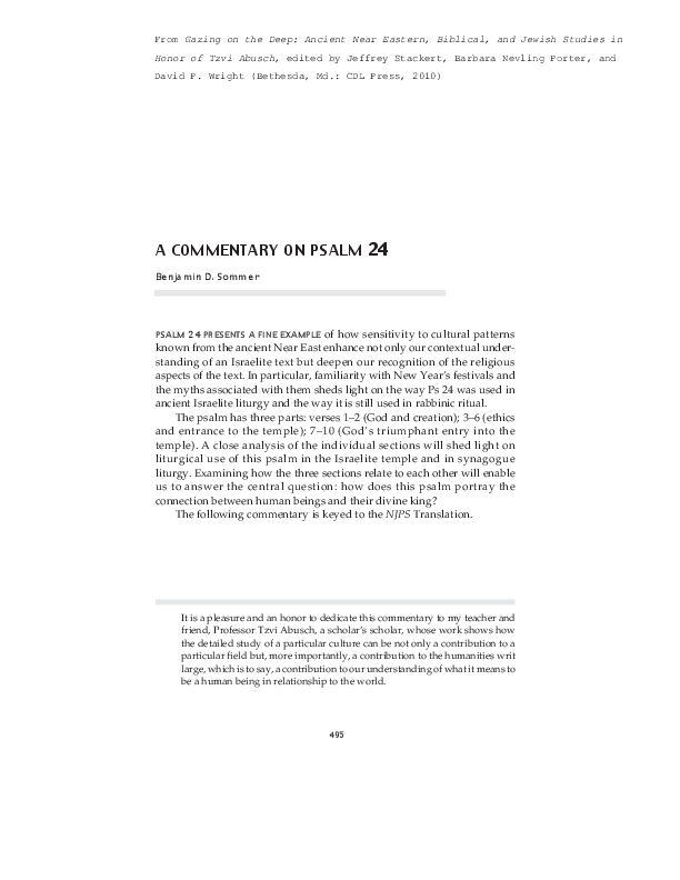 PDF) A Commentary on Psalm 24 | Benjamin Sommer - Academia edu