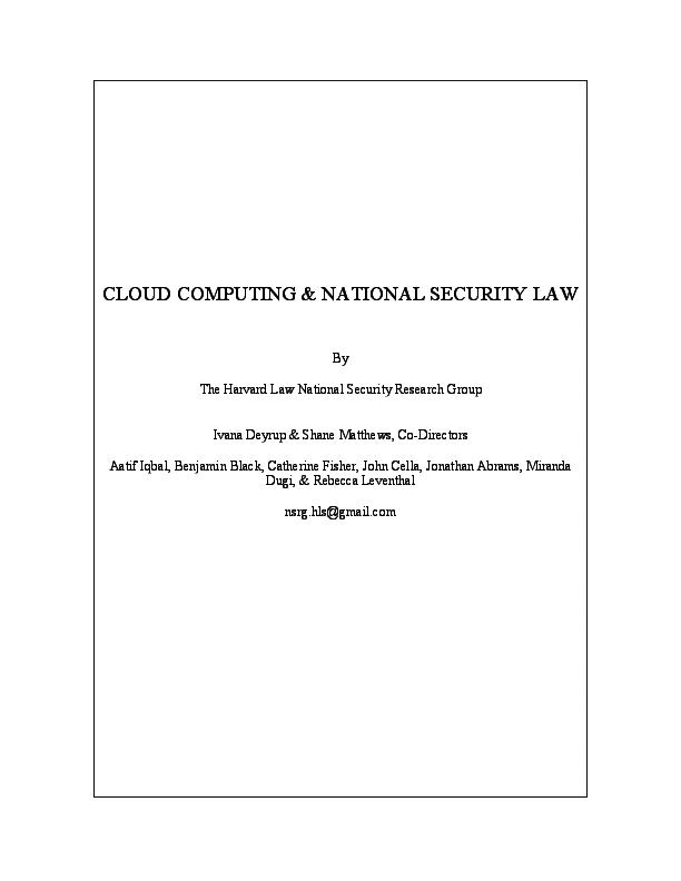 PDF) CLOUD COMPUTING & NATIONAL SECURITY LAW | Aatif Iqbal