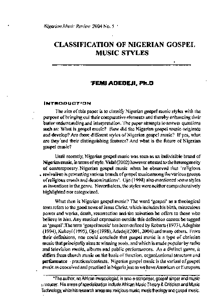 PDF) Classification of Nigerian Gospel Music Styles | Yisa