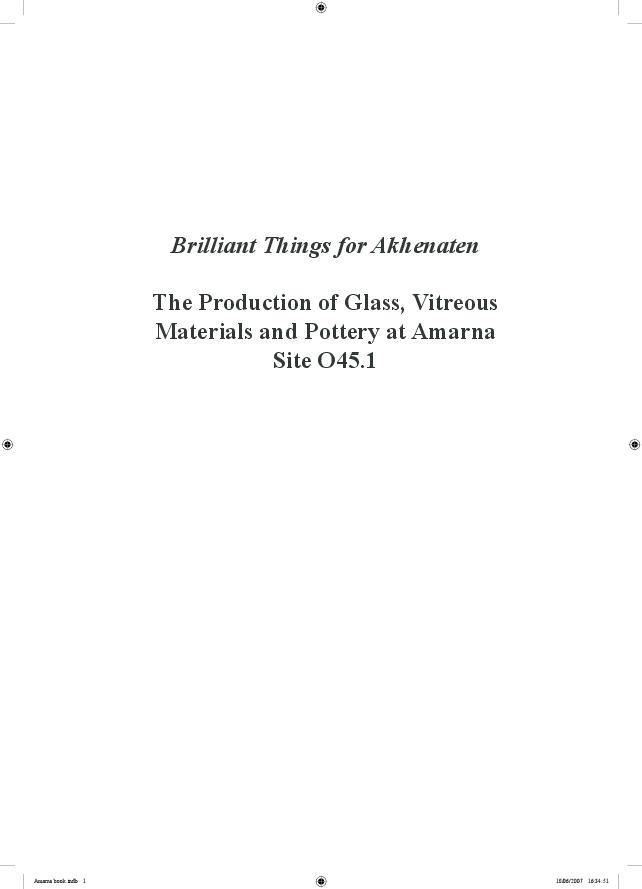 PDF) Brilliant Things for Akhenaten: The production of glass