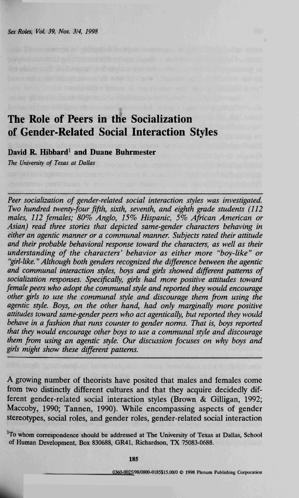 PDF) The Role of Peers In the Socialization of Gender