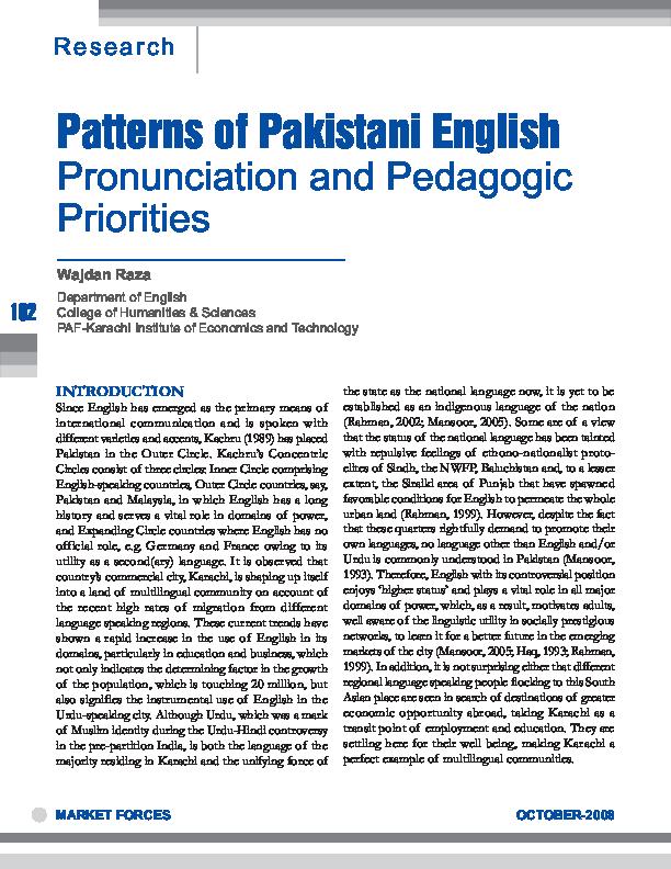 PDF) Patterns of Pakistani English pronunciation and