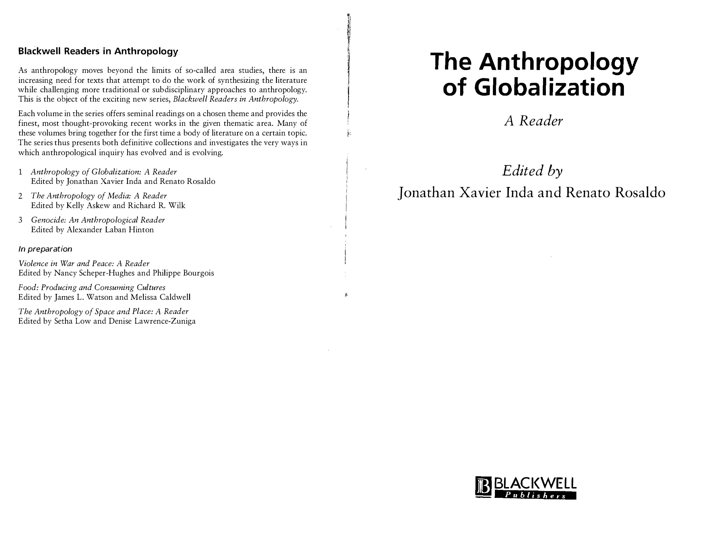 PDF) The Anthropology of Globalization: A Reader | Jonathan