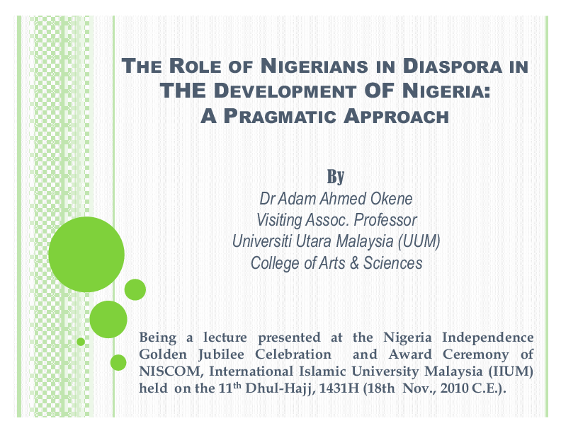 PPT) The role of Nigerians in diaspora in developing Nigeria | Dr