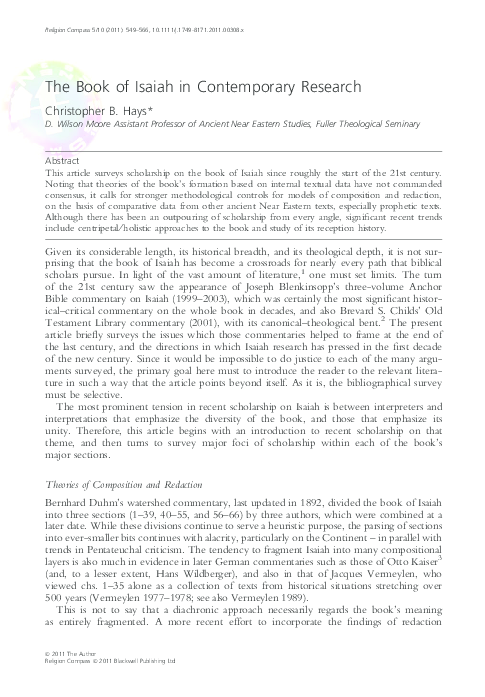 PDF) The Book of Isaiah in Contemporary Research