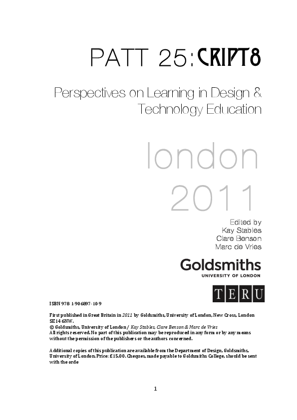 PDF) Getting to know you: design and technology education