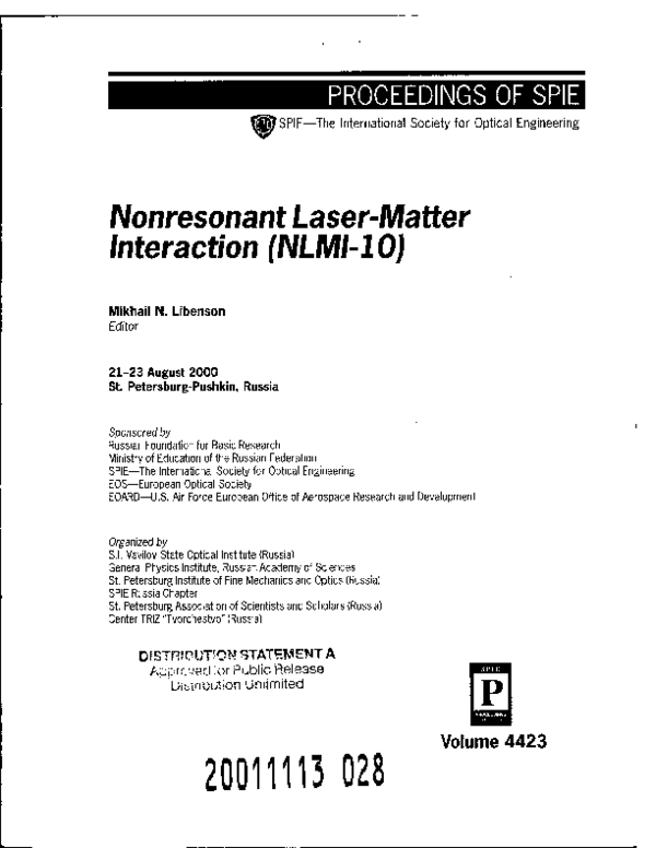 PDF) A new mechanism of laser dry cleaning | Boris Luk