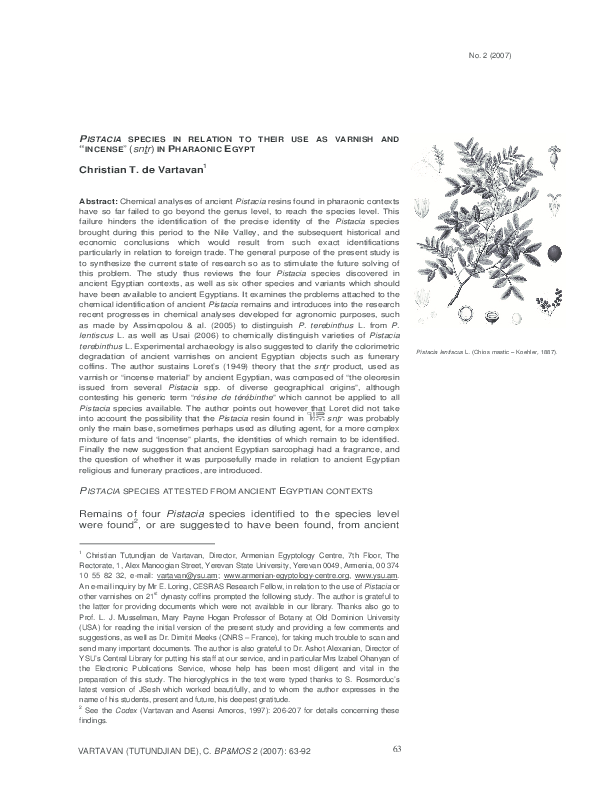 PDF) PISTACIA SPECIES IN RELATION TO THEIR USE AS VARNISH AND