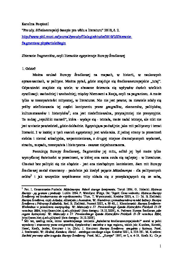 Pdf Zbieranie Fragmentów Czyli Literackie Egzystencje