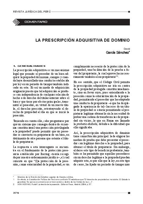 Pdf La Prescripcion Adquisitiva De Dominio David Garcia Academia Edu