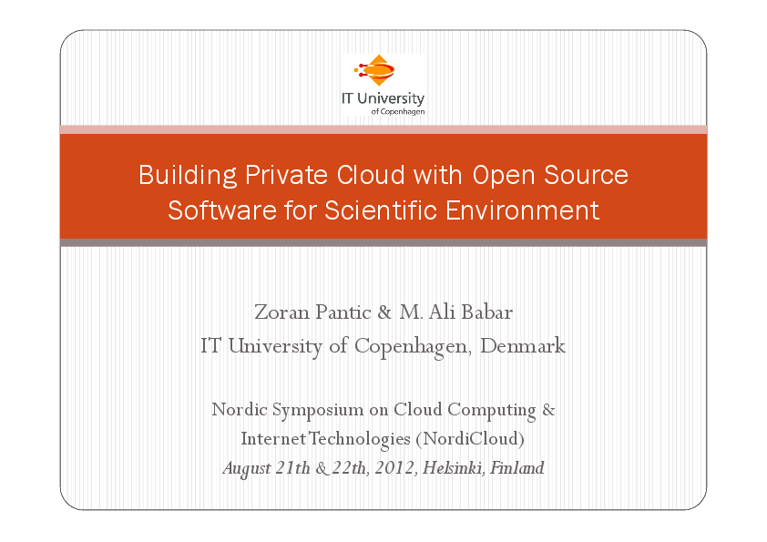 Tutorial - Building Private Cloud with Open Source Software for