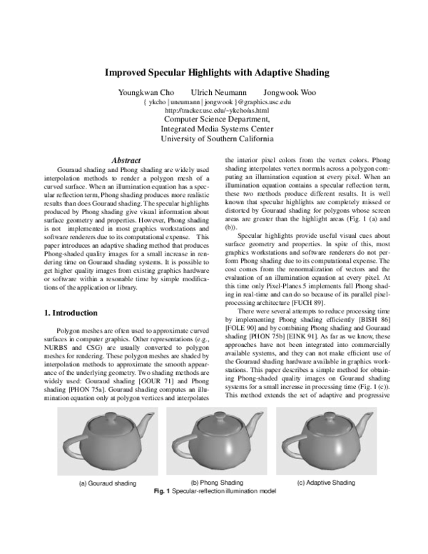 PDF) Improved specular highlights with adaptive shading