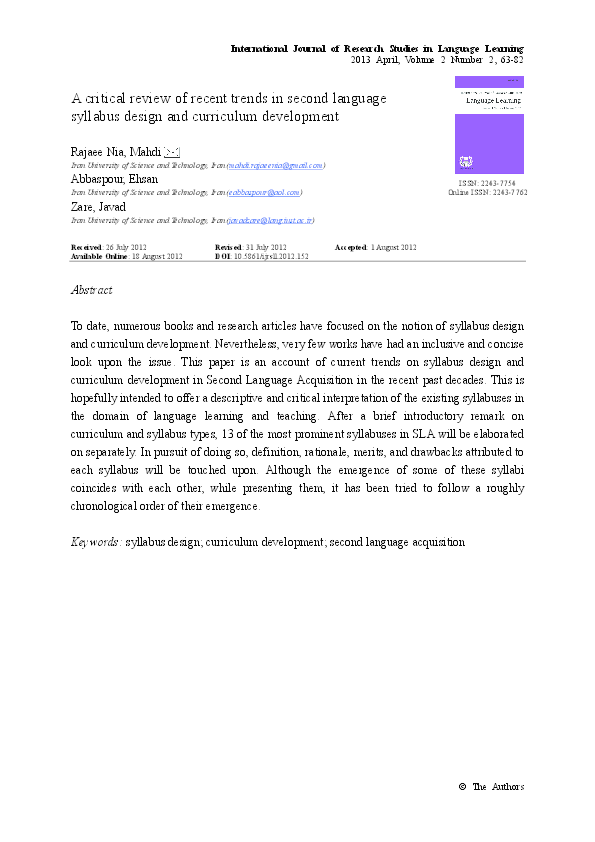 Pdf A Critical Review Of Recent Trends In Second Language Syllabus Design And Curriculum Development Ehsan Abbaspour Academia Edu