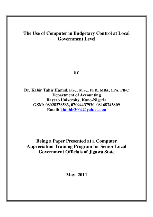 PDF) The Use of Computer in Budgetary Control at Local Government