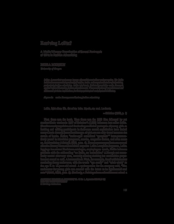 Preteen lolita nude girl PDF) The Visual Rhetoric of Innocence: Lolitas in Popular ...
