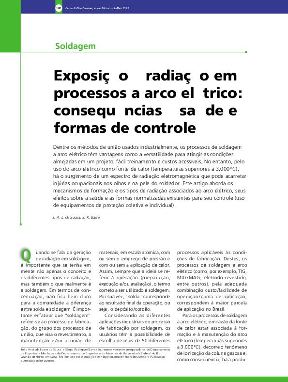 a7eb639a86ff4 Exposição à radiação em processos a arco elétrico  consequências à ...