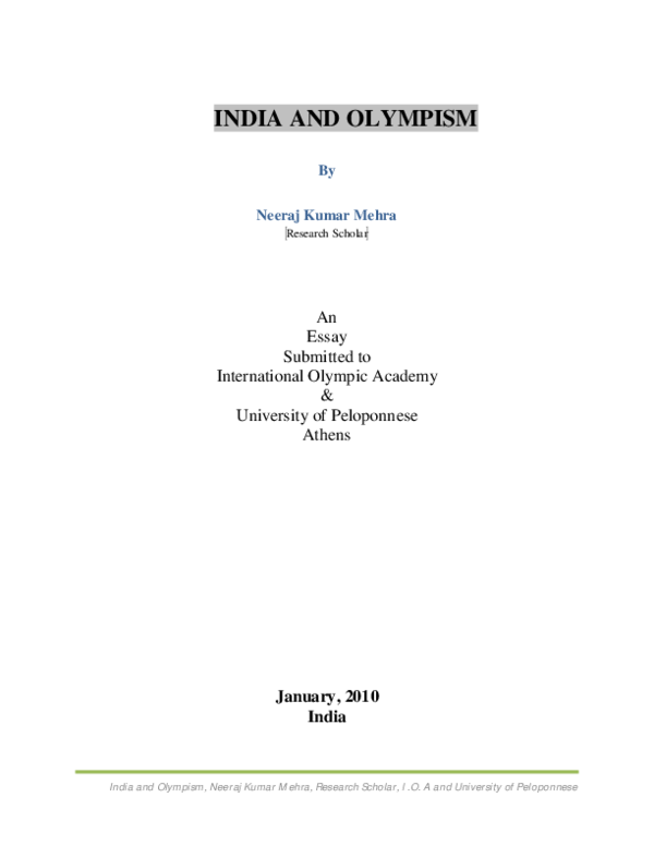 PDF) India and Olympism | Neeraj Kumar Mehra - Academia edu