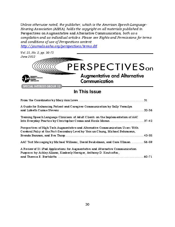 PDF) Perspectives of High Tech Augmentative and Alternative