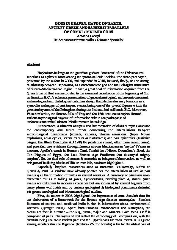 PDF) GODS IN HEAVEN, HAVOC ON EARTH  ANCIENT GREEK AND SANSKRIT