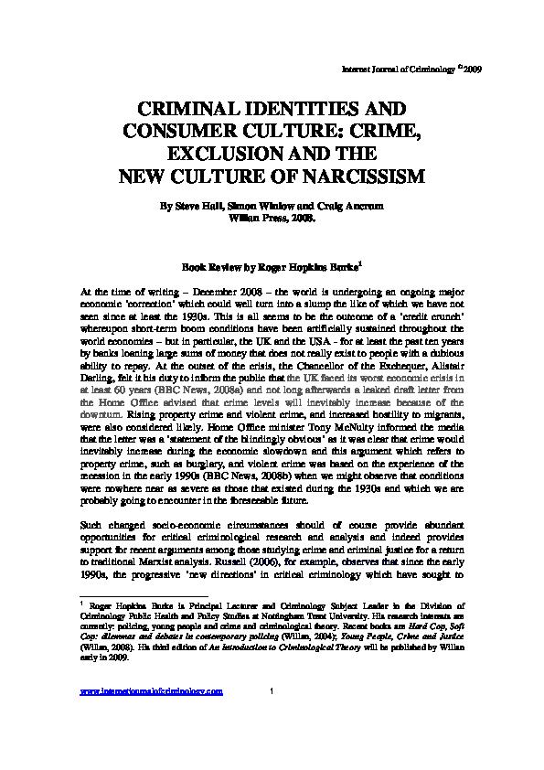 PDF) Criminal identities and consumer culture: crime