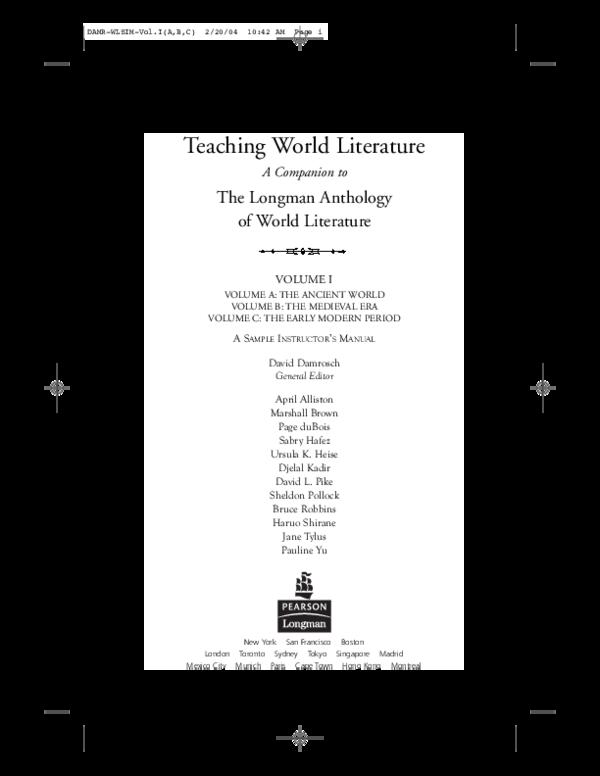 PDF) Teaching World Literature   Ursula Heise - Academia edu