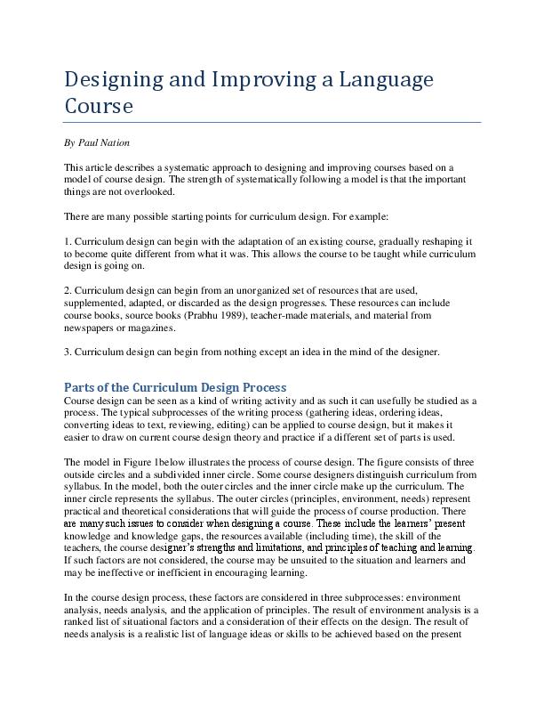 PDF) Designing and improving a language course   Ceravika Harmoni