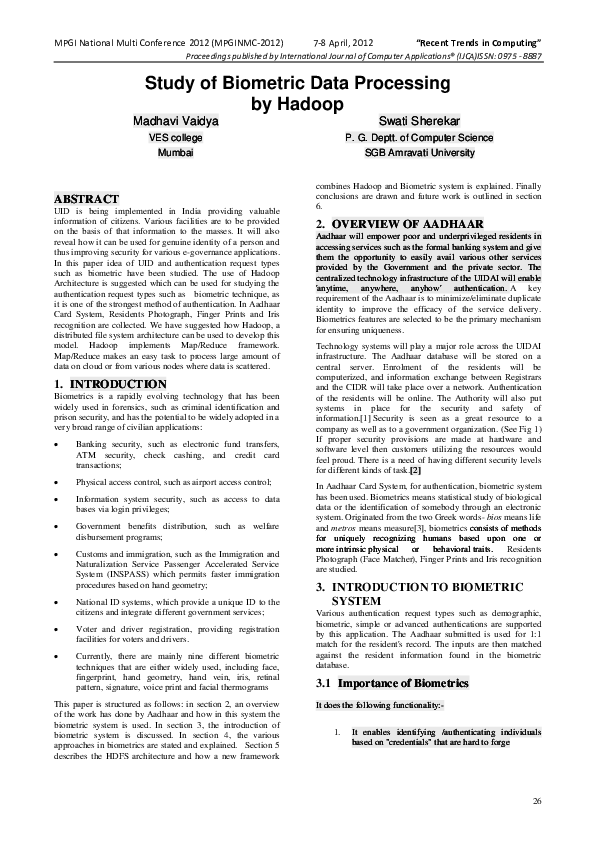 PDF) Study of Biometric Data Processing by Hadoop | Madhavi Vaidya