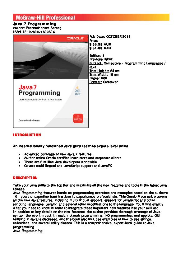 PDF) Java 7 programming | Poornachandra Sarang - Academia edu
