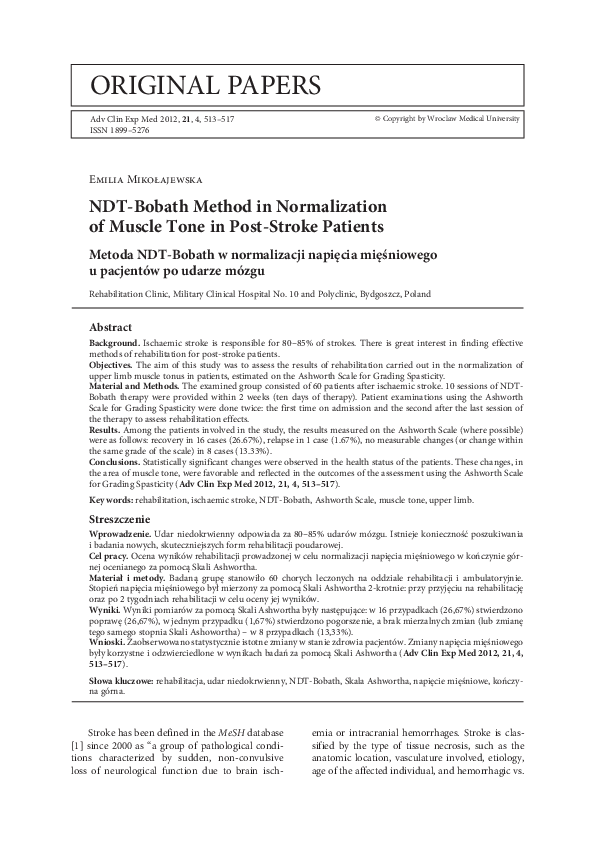 Pdf Ndt Bobath Method In Normalization Of Muscle Tone In Post