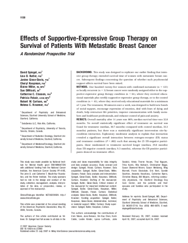 PDF) Effects of supportive‐expressive group therapy on